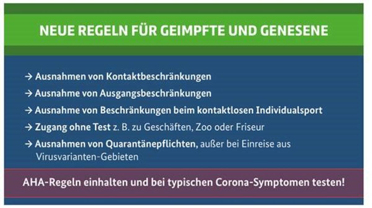 Neue Regeln für Geimpfte und Genesene